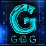 G Letter Vector. Capital Digit. Roentgen X-ray Font Light Sign. Medical Radiology Neon Scan Effect. Alphabet. 3D Blue. Light Digit With Bone. Pirate, Futuristic Stock Photography