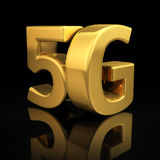 5G letters. On black background with reflection Royalty Free Stock Image
