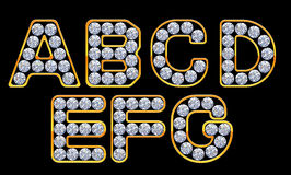 A-G letters incrusted with diamonds Stock Image