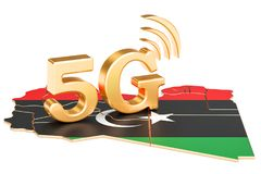 5G in Libya concept, 3D rendering. Isolated on white background Royalty Free Stock Image