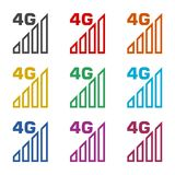 4G line icon, 4g network icon, color icons set. Simple vector icon royalty free illustration