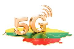 5G in Lithuania concept, 3D rendering. Isolated on white background Stock Image