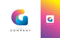 G Logo Letter With Rainbow Vibrant Mooie Kleuren Kleurrijk RT Stock Foto
