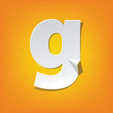 G lowercase letter fold english alphabet New design. The new design of the English alphabet, g Lowercase letter was folded paper some of the letters. Adapted Stock Photo