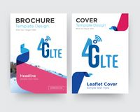 4g lte brochure flyer design template. With abstract photo background, minimalist trend business corporate roll up or annual report Stock Images
