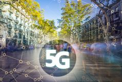 5G or LTE presentation. Barcelona modern city on the background Royalty Free Stock Photos