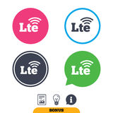 4G LTE sign. Long-Term evolution symbol. 4G LTE sign icon. Long-Term evolution sign. Wireless communication technology symbol. Report document, information sign Stock Image