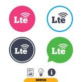 4G LTE sign. Long-Term evolution symbol. 4G LTE sign icon. Long-Term evolution sign. Wireless communication technology symbol. Report document, information sign vector illustration