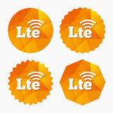 4G LTE sign. Long-Term evolution symbol. 4G LTE sign icon. Long-Term evolution sign. Wireless communication technology symbol. Triangular low poly buttons with Royalty Free Stock Photography