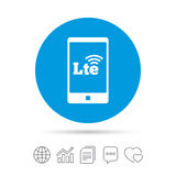 4G LTE sign. Long-Term evolution symbol. 4G LTE sign in smartphone icon. Long-Term evolution sign. Wireless communication technology symbol. Copy files, chat vector illustration