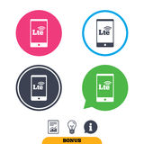 4G LTE sign. Long-Term evolution symbol. 4G LTE sign in smartphone icon. Long-Term evolution sign. Wireless communication technology symbol. Report document vector illustration