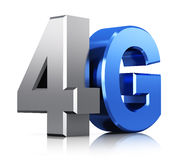 4G LTE wireless technology logo. Creative abstract mobile telecommunication cellular high speed data connection business concept: blue metallic 4G LTE wireless Royalty Free Stock Photography