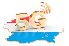 5G in Luxembourg concept, 3D rendering. Isolated on white background Stock Photography