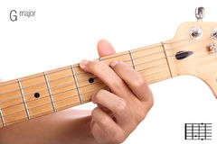 G major guitar chord tutorial Stock Photos