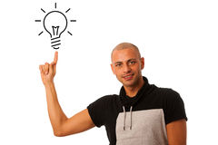 G man pointing to light bulb as he gets new idea isolated over w Stock Photo