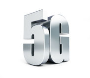 5G metal sign, 5G cellular high speed data wireless connection. 3d Illustrations. On white background Royalty Free Stock Photo