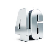 4G metal sign, 4G cellular high speed data wireless connection. 3d Illustrations. On white background Stock Image