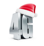 4G metal sign Santa Hat, 4G cellular high speed data wireless connection. 3d Illustrations on white background vector illustration