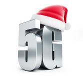 5G metal sign Santa Hat, 5G cellular high speed data wireless connection. 3d Illustrations on white background vector illustration