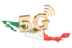 5G in Mexico concept, 3D rendering. Isolated on white background Royalty Free Stock Photo