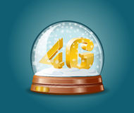 4G mobile communications standard in snow globe. 4G mobile communications standard as christmas gift in snow globe Stock Photography