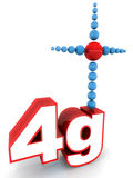 4g mobile network. Concept, word with antenna made up of shiny spheres Royalty Free Stock Photography