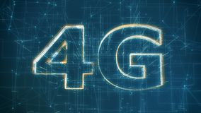 4G mobile network. Text 4G made with particles, abstract background, concept of high speed internet mobile network 3d render royalty free illustration