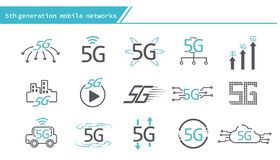 5G mobile networks concept icon. Simple Line Series royalty free illustration