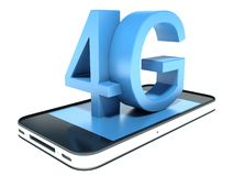 4G mobile telephony. Isolated white stock illustration