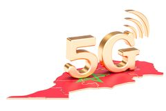 5G in Morocco concept, 3D rendering. Isolated on white background Royalty Free Stock Images