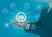 5g nätverk, snabb mobil internet Vetenskap, utbildning, affär och vård- begrepp royaltyfri illustrationer