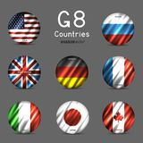 G8 National round flag icon set. G8 USA Canada France Germany Italy Japan Russia Great Britain round flag icon set on gray background. Great 8 country circle Royalty Free Stock Photo