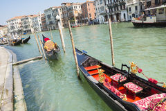 Gôndola na lagoa Venetian Fotos de Stock Royalty Free