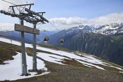 Gôndola na montagem Schareck, Áustria Fotografia de Stock