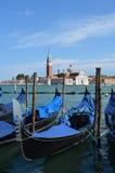 Gôndola Venetian A catedral de San Giorgio Maggiore Fotos de Stock Royalty Free