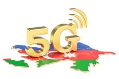 5G nel concetto dell'Azerbaigian, rappresentazione 3D Fotografia Stock
