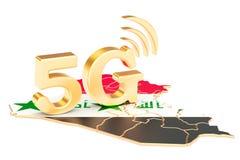 5G nel concetto dell'Irak, rappresentazione 3D Immagine Stock