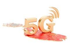 5G nel concetto di Malta, rappresentazione 3D Immagine Stock