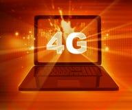 4G netwerk op laptop Stock Afbeeldingen