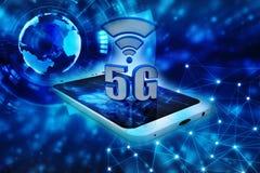 5G netwerk, 5G Verbindingsconcept het 3d teruggeven Stock Afbeeldingen