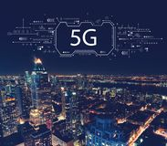 5G network with aerial view of Manhattan stock photography