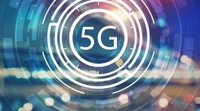 5G network with blurred city lights stock photography