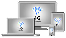 4g network concept on different devices. 4g network concept shown on different information technology devices Stock Photo