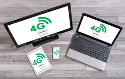 4g network concept on different devices. 4g network concept shown on different information technology devices Royalty Free Stock Photography