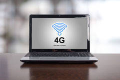 4g network concept on a laptop. Screen Stock Image