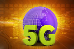5G network connection. In color background vector illustration