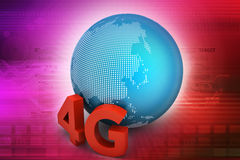 4G network connection. In color background vector illustration