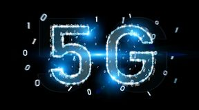 5G network digital hologram 3D rendering. 5G network digital hologram on black background 3D rendering Stock Photo