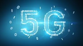 5G network digital hologram 3D rendering. 5G network digital hologram on blue background 3D rendering Stock Images