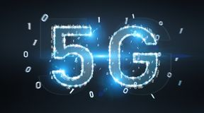 5G network digital hologram 3D rendering. 5G network digital hologram on blue grey background 3D rendering vector illustration